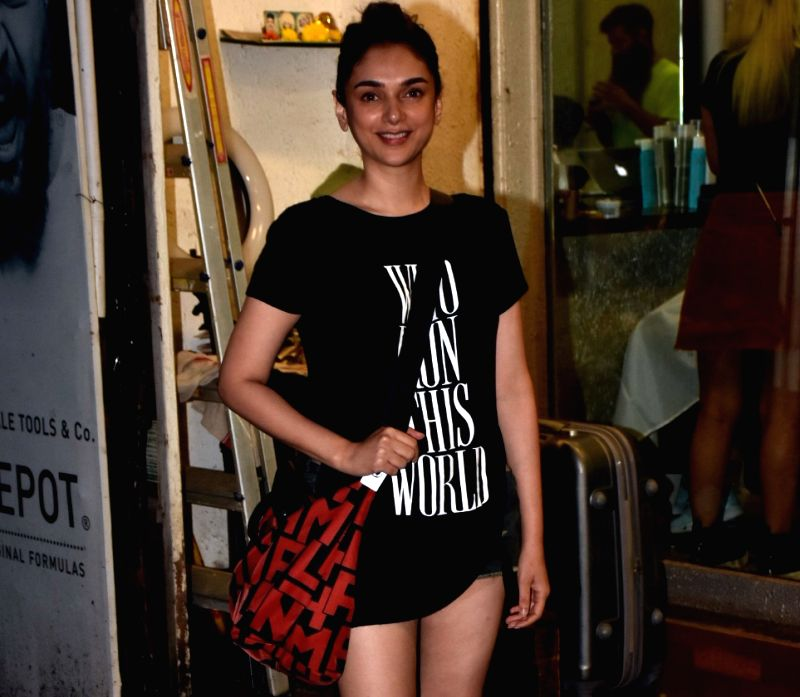 Mumbai: Actress Aditi Rao Hydari seen at a salon in Bandra, Mumbai on June 14, 2019.