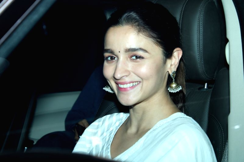 "Mumbai: Actress Alia Bhatt at the screening of her upcoming film ""Kalank"", in Mumbai, on April 16, 2019. (Photo: IANS)"