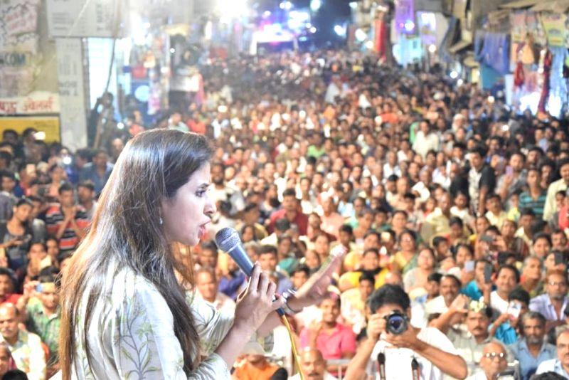 Mumbai: Actress and Congress' Lok Sabha candidate from Mumbai North, Urmila Matondkar addresses during an election rally in Mumbai's Kandivali on April 21, 2019.