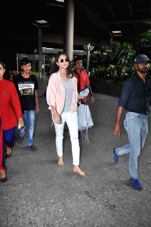 Actress Anushka Sharma spotted at the international airport in Mumbai, on May 30, 2015. - Anushka Sharma