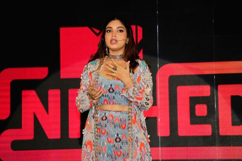"Mumbai: Actress Bhumi Pednekar addresses at the launch of fictional series ""MTV Nished"" in Mumbai on Jan 16, 2020. (Photo: IANS)"