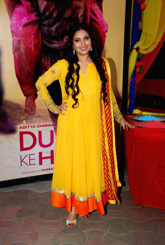 Actress Bhumi Pednekar during the Holi celebration with team of film Dum Laga Ke Haisha in Mumbai on March 5, 2015. - Bhumi Pednekar