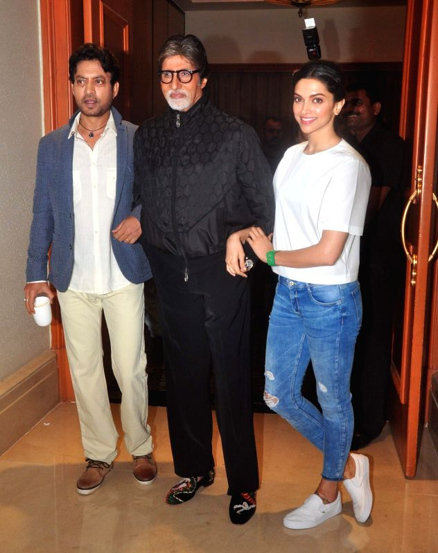 Actress Deepika Padukone, actor Amitabh Bachchan and Irrfan Khan during the media interaction of film Piku in Mumbai, on May 2, 2015. - Deepika Padukone, Amitabh Bachchan and Irrfan Khan