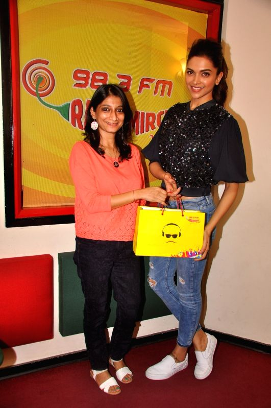 Actress Deepika Padukone at Radio Mirchi for promotion of Piku at Red FM studio, in Mumbai, on May 8, 2015. - Deepika Padukone