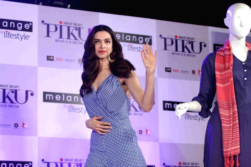 Actress Deepika Padukone during the showcase of Melange by Lifestyle`s Piku inspired ethnic wear collection in Mumbai, on April 28, 2015.