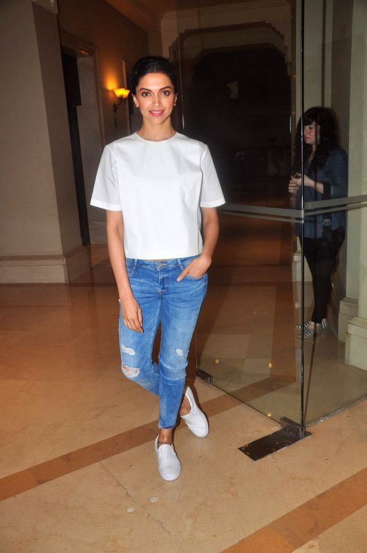 Actress Deepika Padukone during the media interaction of film Piku in Mumbai, on May 2, 2015. - Deepika Padukone