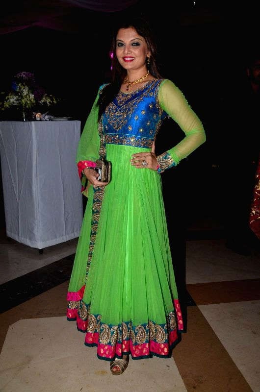 Actress Deepshikha at the Sangeet ceremony of Uday Singh - the brother is of actor Vikram Singh - and Shirin Morani in Mumbai. - Deepshikha and Vikram Singh