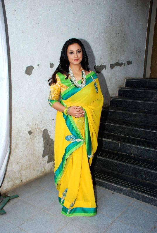 Actress Divya Dutta during the Mahurat and on location of film Chalk and Duster, in Mumbai on April 12th, 2015. - Divya Dutta
