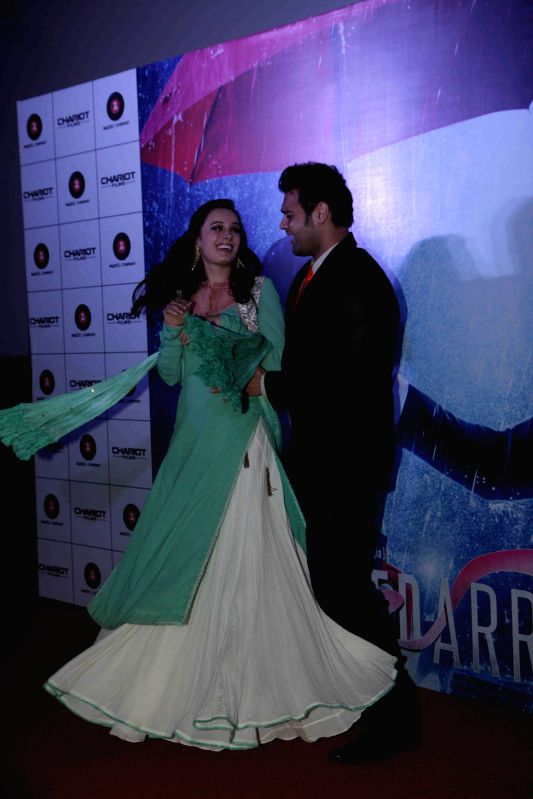 Actress Evelyn Sharma and actor Mahaakshay Chakraborty during the music launch of film Ishqedarriyaan in Mumbai on April 24, 2015. - Evelyn Sharma and Mahaakshay Chakraborty