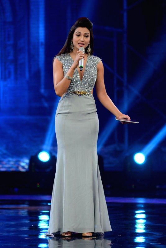 Actress Gauhar Khan during the sets of India's Raw Star grand finale in Mumbai on 30th November, 2014 - Gauhar Khan