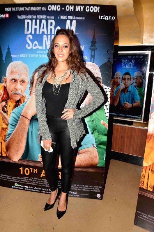 Actress Hazel Keech during the screening of film Dharam Sankat Mein in Mumbai on April 8, 2015. - Hazel Keech