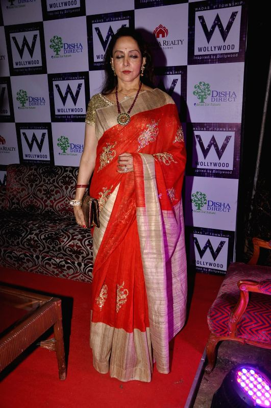 Actress Hema Malini during the success bash of Nirvana Realty and Disha Direct, Wollywood project in Mumbai on Feb 12, 2015. Hema Malini is the brand ambassador for the project by Nirvana ...