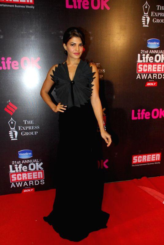 Actress Jacqueline Fernandez during the 21st Annual Life OK Screen Awards in Mumbai on Jan. 14, 2015. - Jacqueline Fernandez