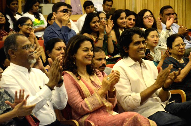 Actress Juhi Chawla and filmmaker Nagesh Kukunoor at the launch of a resource portal on the eve of the World Day for Prevention of Child Abuse at Y B Chavan Auditorium in Mumbai, on Nov 18, ..