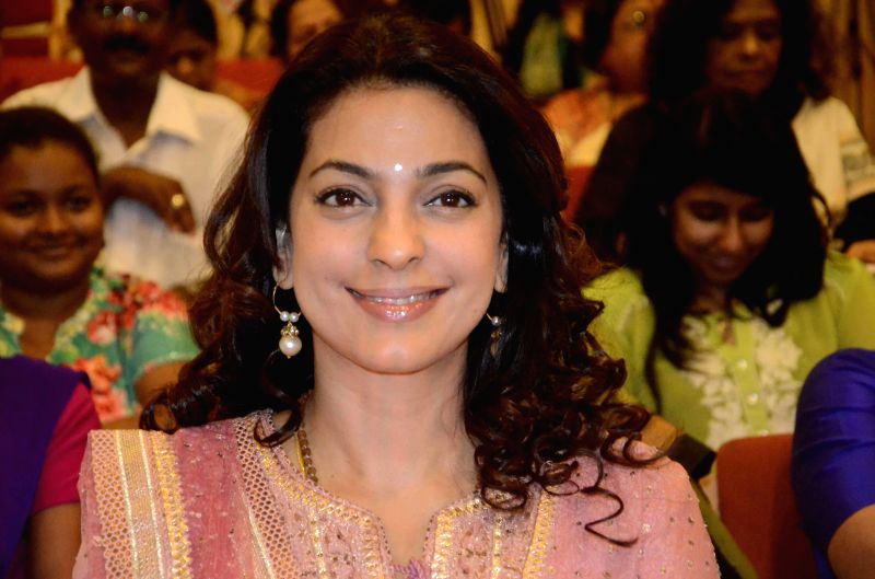 Actress Juhi Chawla at the launch of a resource portal on the eve of the World Day for Prevention of Child Abuse at Y B Chavan Auditorium in Mumbai, on Nov 18, 2014.