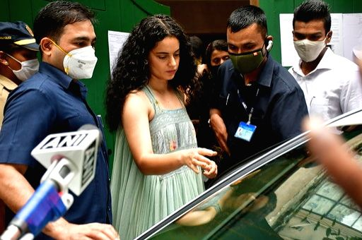 Mumbai: Actress Kangana Ranaut visits her office in Bandra after the Brihanmumbai Municipal Corporation (BMC) carried out the demolition of unauthorised modifications/extensions at her office on Wednesday, in Mumbai on Sep 10, 2020. (Photo: IANS)