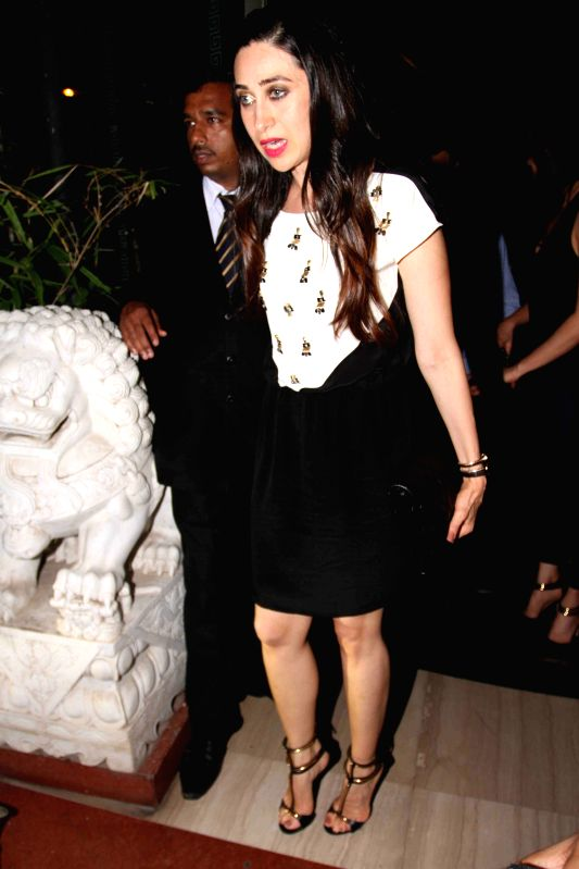 Actress Karishma Kapoor during Babita Kapoor`s birthday party in Mumbai, on April 19, 2015. - Karishma Kapoor