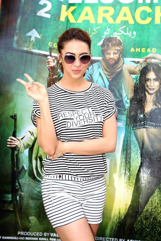 Actress Lauren Gottlieb promote Welcome To Karachi at 17th anniversary celebrations of Water Kingdom in Mumbai on April 26, 2015.