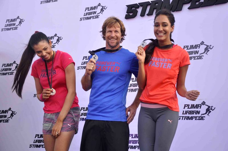 Actress Lisa Haydon during the launch of Puma Urban Stampede 2015-2016 in Mumbai on 4th May 2015 - Lisa Haydon
