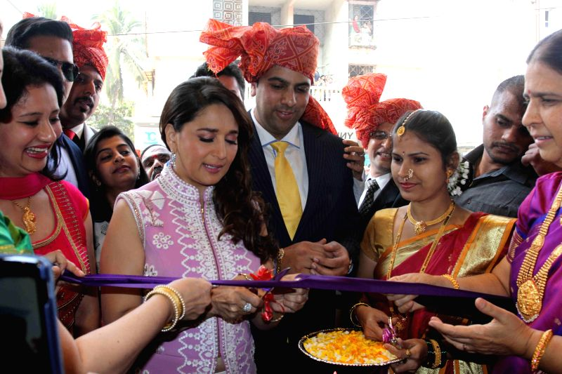 Actress Madhuri Dixit at the inauguration of a showroom in Panvel on Jan 30, 2015.