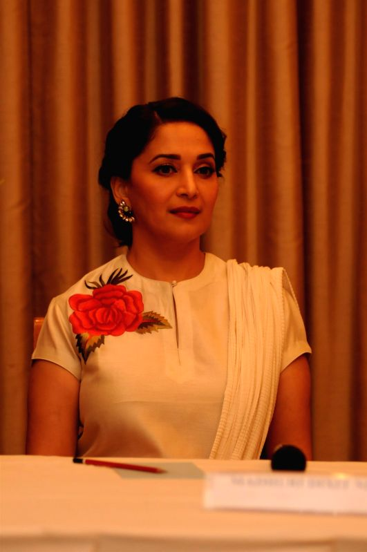 Actress Madhuri Dixit during the launch of five day long contemporary dance festival, JUNGNEE, in Mumbai, on April 23, 2015.