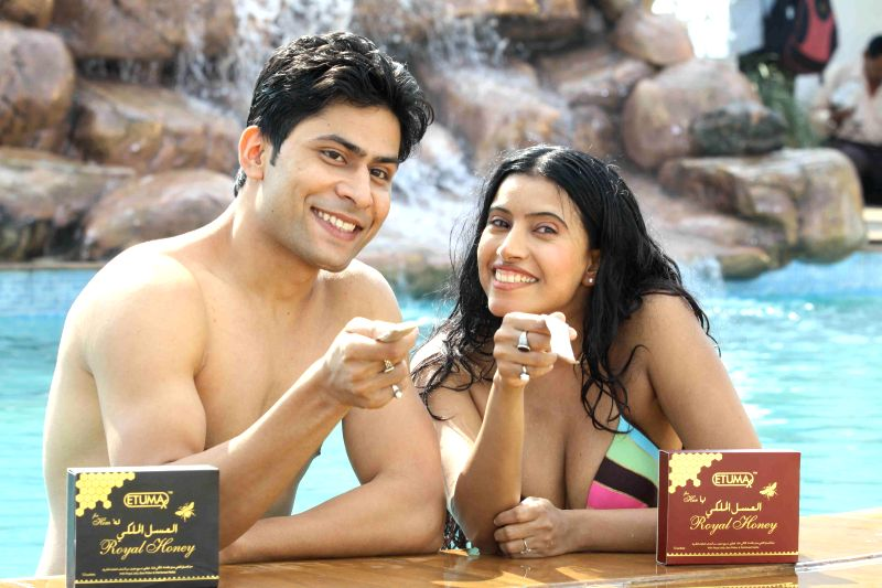 Actress Maushmi Udeshi in bikini photo shoot with Shiv for Ezura Royal Honey advertisement in Mumbai on Dec. 28, 2014.