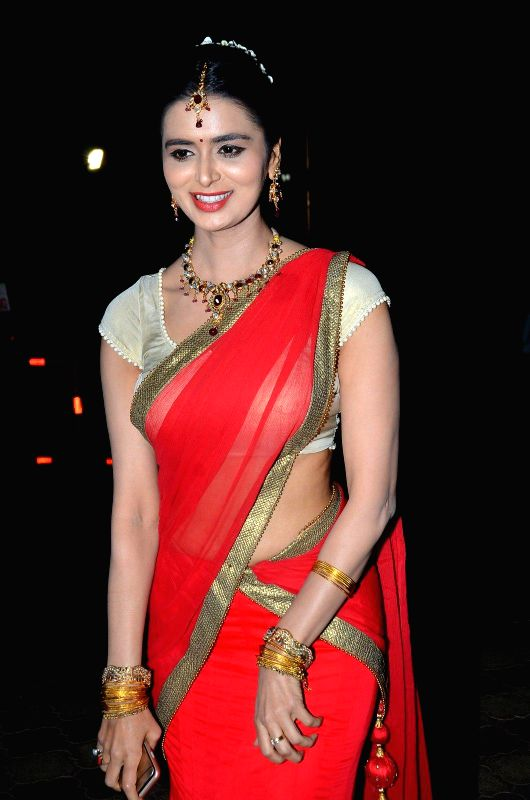 Actress Meenakshi Dixit during the Bharat Gaurav Achievement Award 2015 in Mumbai on Jan 24, 2015. - Meenakshi Dixit