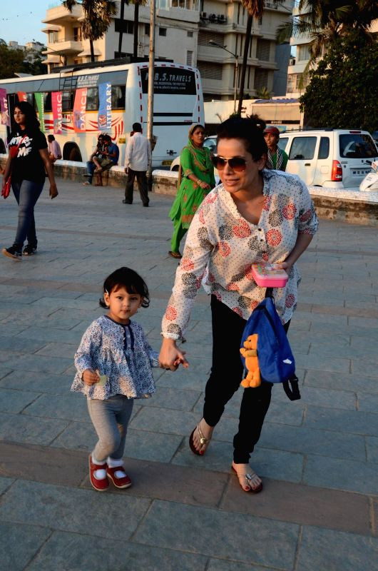 Actress Neelam spotted with her daughter Ahana Soni at Carter Road in Mumbai on Feb. 16, 2015.