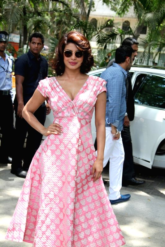 Actress Priyanka Chopra during the promotion of film Dil Dhadakne Do in Mumbai, on May 3, 2015. - Priyanka Chopra