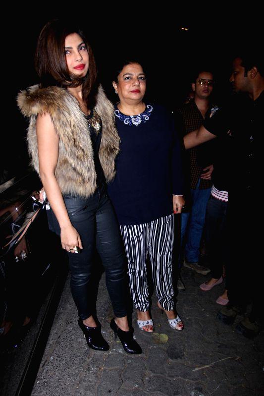Actress Priyanka Chopra with her mother during the Sanjay Leela Bhansali celebrates Padma Shri honour party in Mumbai 28th January 2015. - Priyanka Chopra