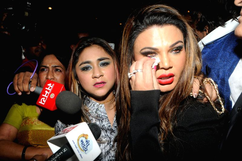 Actress Rakhi Sawant and Manisha Kumari and her friend Manisha Kumari during a programme organised to launch the music of 'Mumbai Can Dance Saala' where the latter assaulted filmmaker ... - Sachindra Sharma