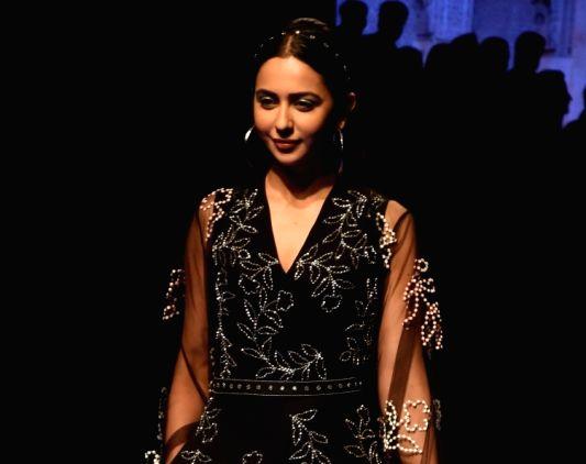 Actress Rakul Preet Singh showcases creations of fashion designer Nachiket Barve at Lakme Fashion Week Winter/Festive 2019