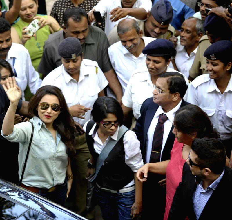 Actress Rani Mukherjee arrives at the Mumbai University campus to attend the V.V. Shirwadkar awards ceremony in Mumbai, on Jan 20, 2015.