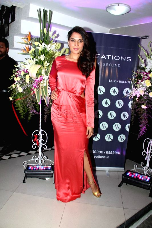 Actress Richa Chadda during the launch of a salon A`Kreations in Mumbai, on April 18, 2015.