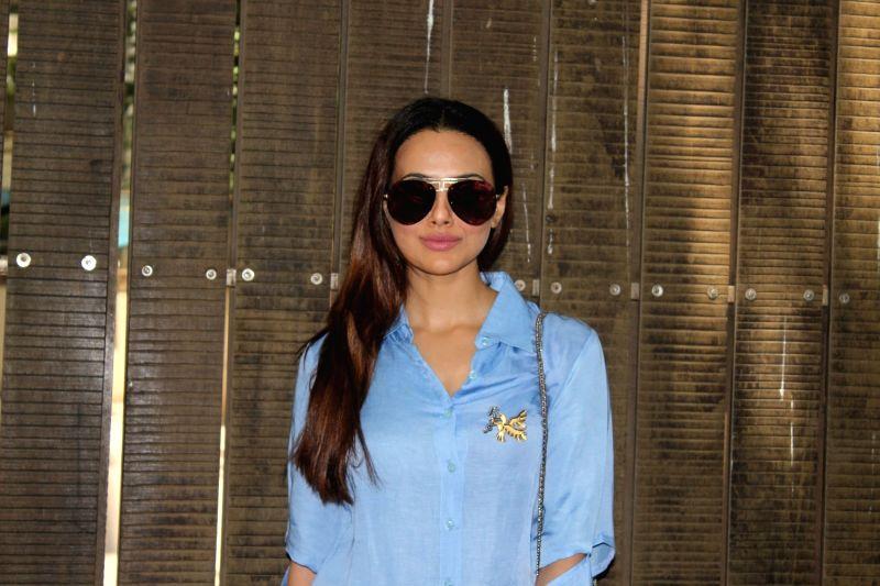 Mumbai: Actress Sana Khan at a studio for the dubbing of film Toilet Ek Prem Katha in Mumbai on May 16, 2017.