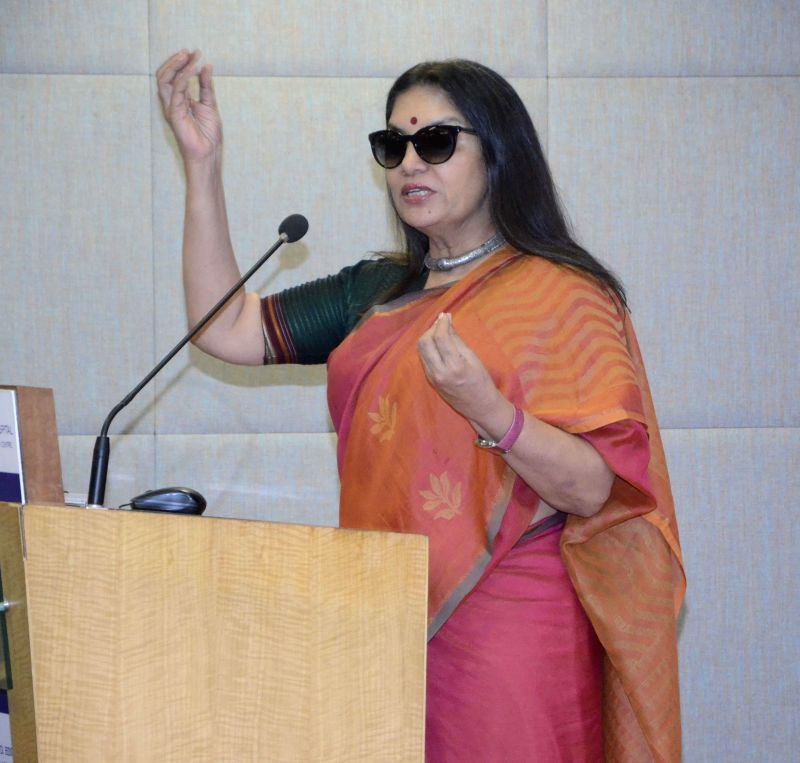 Actress Shabana Azmi addresses during a programme organised on the eve of Women's Day at a Mumbai hospital, on March 7, 2015. - Shabana Azmi