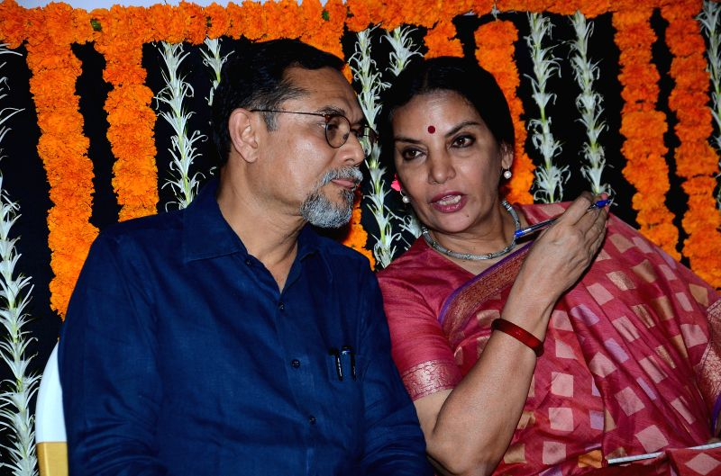 Actress Shabana Azmi and P K Das during a discussion on Mumbai Development Plan organised by Mumbai Congress chief Sanjay Nirupam at Rajiv Gandhi Bhavan in Mumbai, on March 24, 2015. - Rajiv Gandhi Bhavan