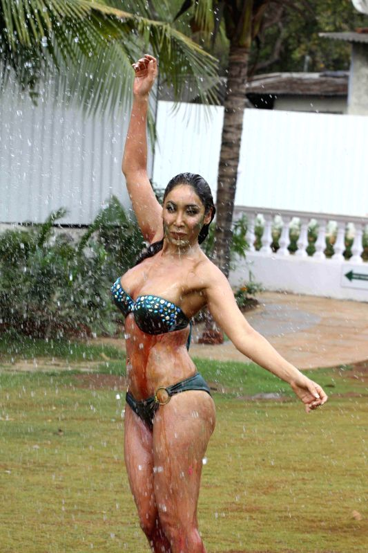 Actress Sofia Hayat during a Holi photo shoot in Mumbai on March 3, 2015.
