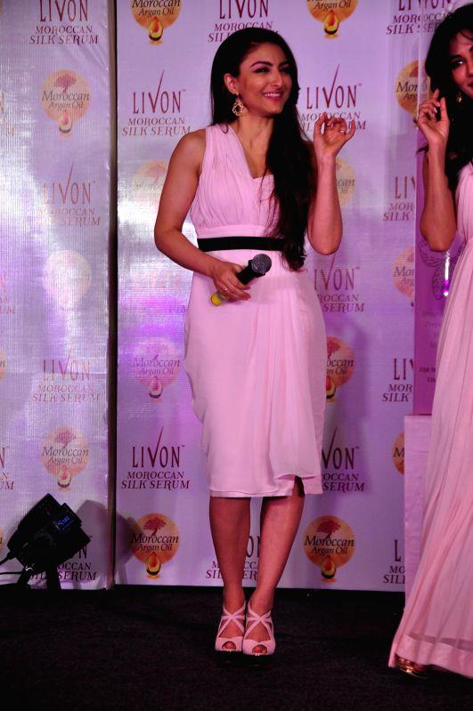Actress Soha Ali Khan during the launch of Livon Moroccan Silk Serum in Mumbai on Dec 2, 2014.