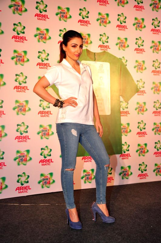 Actress Soha Ali Khan during the launch of the Men & Women wash care label, by Ariel at the press conference held in Mumbai on April 14, 2015. - Soha Ali Khan