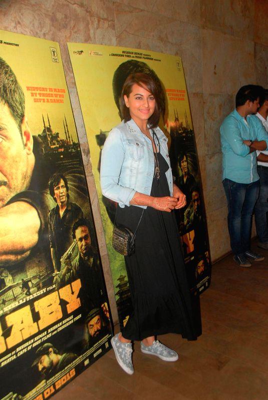 Actress Sonakshi Sinha during the special screening of film Baby in Mumbai on Jan 21, 2015. - Sonakshi Sinha