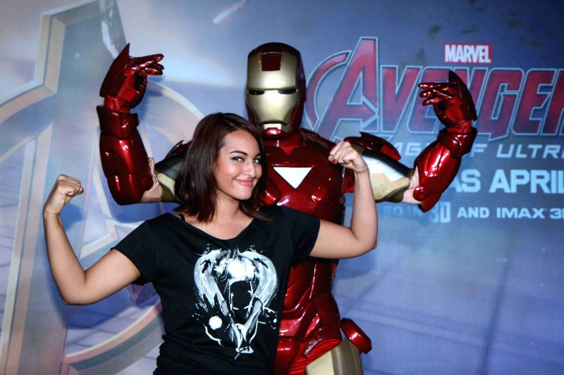 Actress Sonakshi Sinha during the special screening of Hollywood film Avengers: Age of Ultron in Mumbai, on April 22, 2015. - Sonakshi Sinha