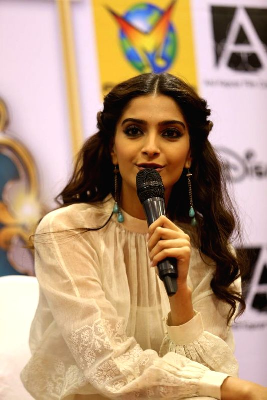 Actress Sonam Kapoor during the launch DVD of her movie `Khoobsurat` at Planet M in Mumbai , on Dec 8, 2014. - Sonam Kapoor