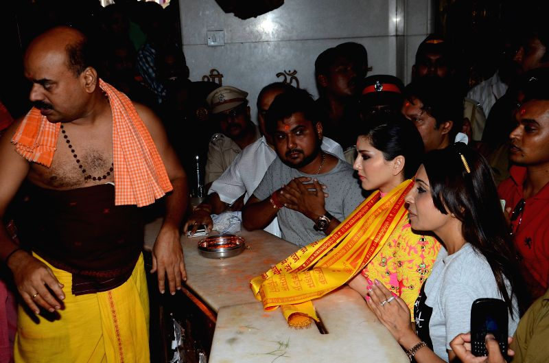 Actress Sunny Leone visits Siddhivinayak temple in Mumbai on May 1, 2015.
