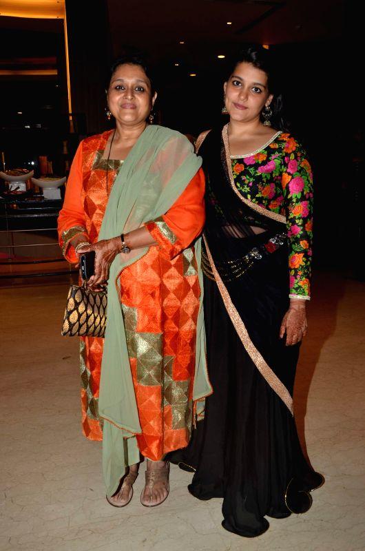 Actress Supriya Pathak with her daughter during Karan Patel and Ankita Bhargava`s engagement and sangeet ceremony at the Novotel Hotel in Juhu, Mumbai on 1st May, 2015. - Supriya Pathak