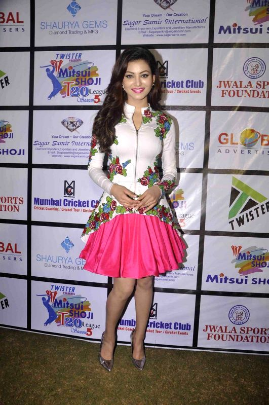 Actress Urvashi Rautela during the Mitsui Shoji T20 Cricket League 2015 organised by Sagar Samir International and Shaurya Jems in Mumbai, on April 27, 2015. - Urvashi Rautela