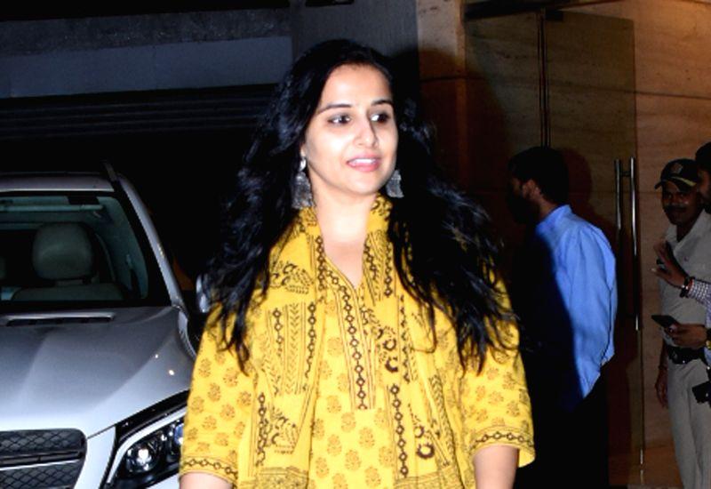 Mumbai: Actress Vidya Balan seen at a dubbing studio in Mumbai's Khar on Nov 5, 2019. (Photo: IANS)
