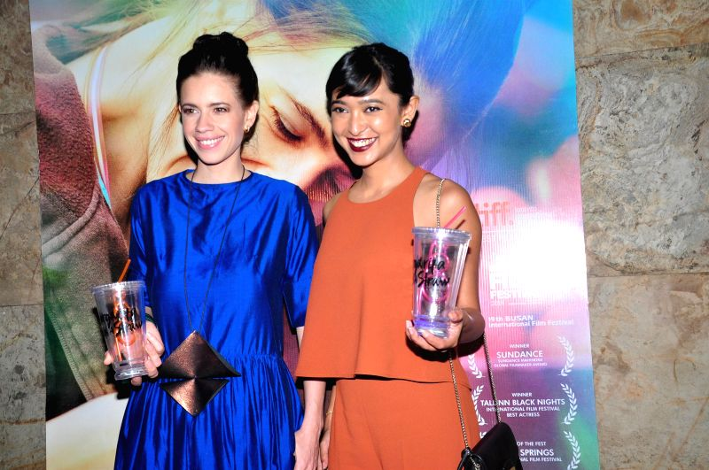 Actresses Kalki Koechlin and Sayani Gupta during the special screening of film Margarita With A Straw in Mumbai on 13th April 2015. - Kalki Koechlin and Sayani Gupta