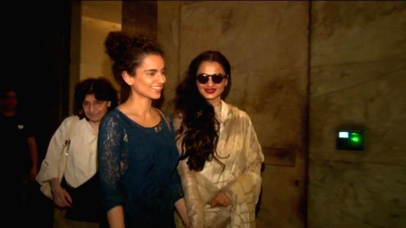 Actresses Rekha and Kangana Ranaut during a special screening of the film `Tanu Weds Manu Returns` in Mumbai on May 25, 2015. - Rekha and Kangana Ranaut