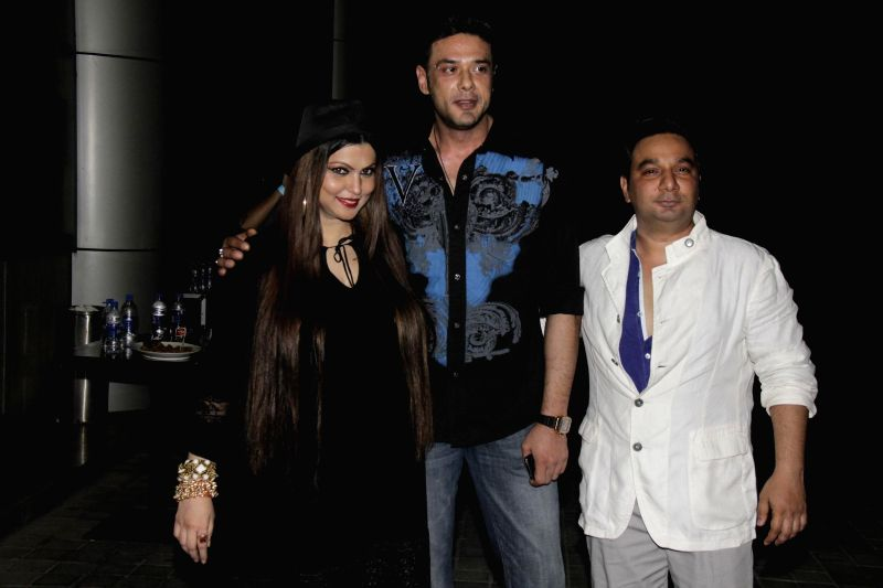 Ahmed Khan and his wife Shahira Khan, Mohit Ahlawat during Ahmed Khan and Shahira Khan's wedding anniversary party in Mumbai on 7th, Feb. 2015.